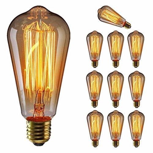 エジソン電球60W KINGSO 10個入E26 110V ST64-19アンカー レトロガラスライト ホーム照明装飾用器具