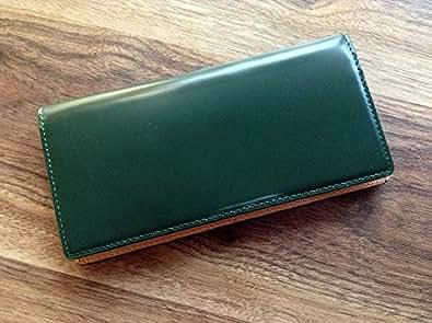 コードバン(馬尻革)×本ヌメ革 長財布(小銭入れ無しタイプ) (グリーン)
