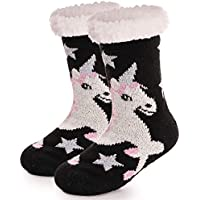 Boys Girls Unicorn Slipper Socks Fuzzy Warm Soft Thick Heavy Fleece lined Christmas Stockings Kid Child Toddler