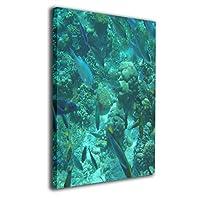 カメ 亀 ウミガメ 背景絵画 現代絵画 キャンバス絵画 装飾 お祝いやプレゼントに 額縁付き 絵画 軽くて取り付けやすい (40x50cm)