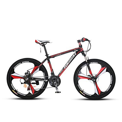 Cyrusher X3 アルミニウム合金MTB 自転車 シマノ26インチ マウンテンバイク [ シマノラピットファイヤー21段変速 / アルミフレーム / 前後ディスクブレーキ ] (レッド)