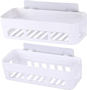 Aelfox 2個 強力粘着固定 浴室用ラック シャワーラック丨洗面所 収納 お風呂 ボトルラック バスルーム 収納丨壁掛け 棚 お風呂 ラック(ホワイト)