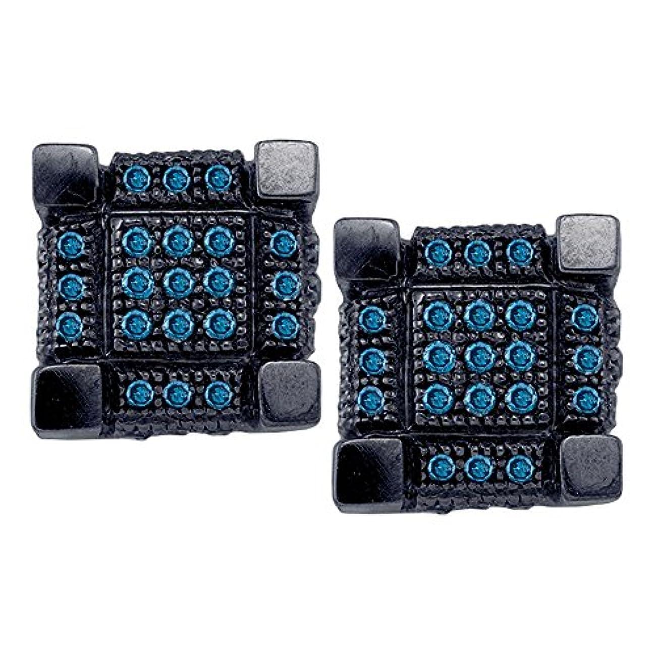 タービン施し喪10kt ホワイトブラックトーンゴールド メンズ ラウンドブルーカラー 強化ダイヤモンド 3D キューブ スクエア クラスターピアス 1/3カラット