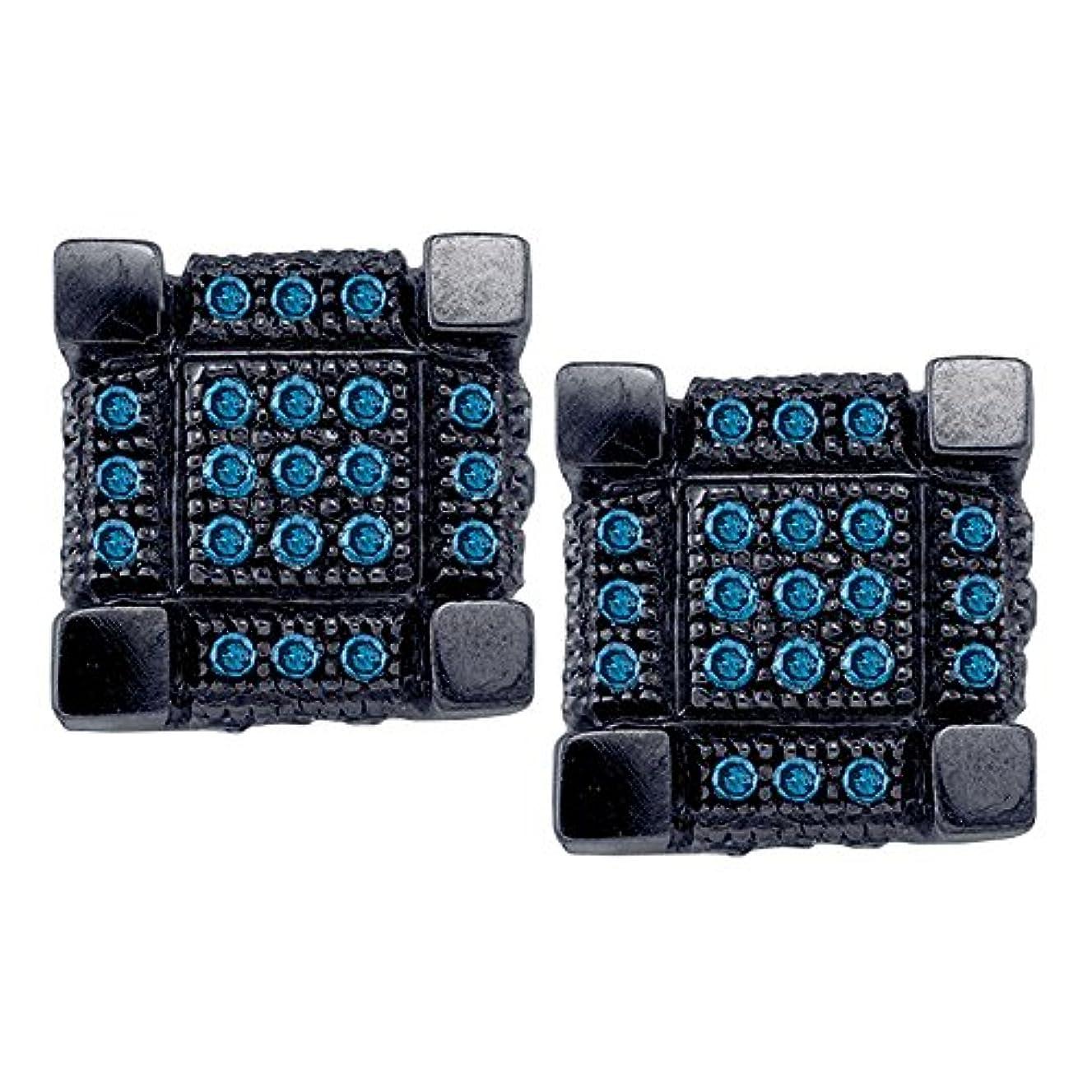 ヘッジ家畜時代Roy Rose Jewelry 10K ホワイトブラックトーンゴールド メンズ ラウンドブルーカラー 強化ダイヤモンド 3D キューブ スクエア クラスター ピアス 1/3カラット tw