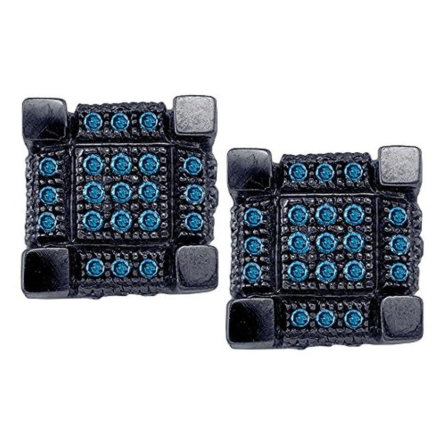 わずらわしいローン抵抗力がある10 KTホワイトblack-toneゴールドメンズラウンドブルー色Enhancedダイヤモンド3dキューブ正方形クラスタイヤリング1 / 3 cttw