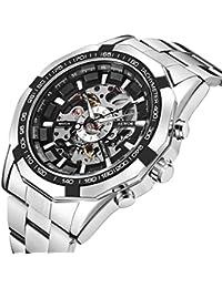 腕時計、メンズ 機械式時計 自動巻きファッションパンクメカニカルスケルトンダイヤルアナログ腕時計ステンレススチールブレスレット (シルバー)
