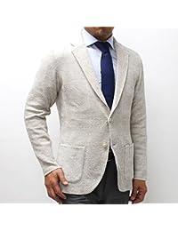 (ラルディーニ)LARDINIジャガード織り ニットジャケット【ホワイト×ベージュ】EELJM19 EE50013 100BE [並行輸入品]