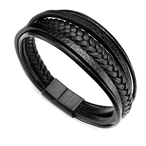 Murtoo レザー ブレスレット メンズ ステンレス製 ブラック グレー ブラウン ブルー 腕輪 アクセサリー (ブラック 19cm)