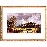 Schleich d.A., Eduard,1812-1874「In der Furt.」インテリア アート 絵画 プリント 額装作品 フレーム:装飾(白) サイズ:XL (563mm X 745mm)