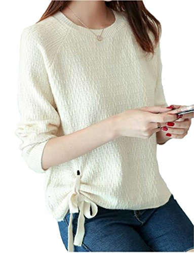 Heaven Days (Haven Days) knit pullover sweater round neck stitch ribbon with ladies 1710M0357