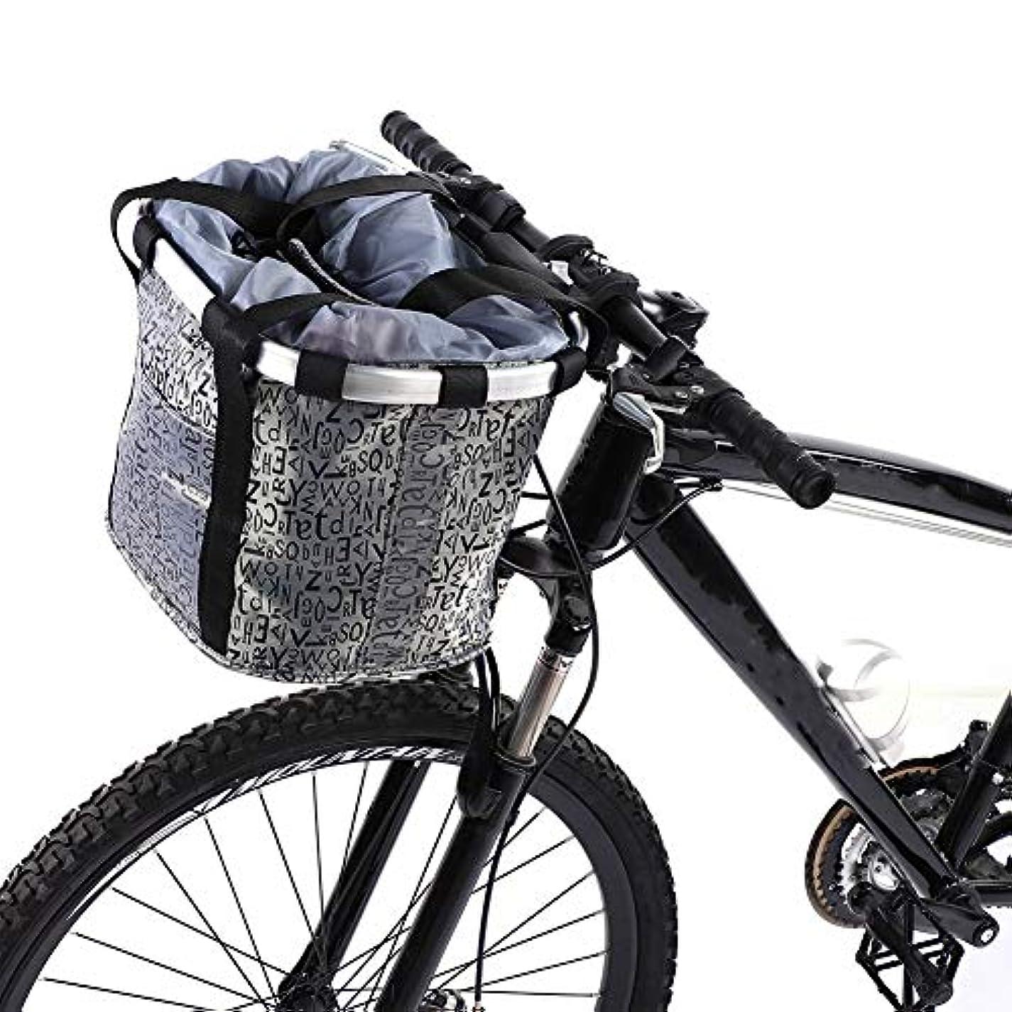 不明瞭不名誉な楽な自転車バスケット自転車カゴ 自転車バッグ 前 取り外し可能 防水 大容量 巾着式 耐荷重5㎏ 再利用可能 サイクリング バッグ 小径車に最適 黒 グレー ブラウン