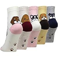 Cansok 5 Pack Women's Dog Socks Fun Novelty Dress Crew Socks