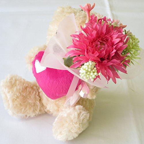 ホワイトデー お返し 人気 誕生日プレゼント 女性 「アイ・ラブ・ユー、・・・愛を叫ぶ子ぐま」 と花束(造花) 誕生日 プレゼント 女性 ギフト サンモクスイ(商標登録第5497927号)手作り