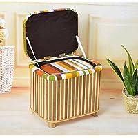 WTL かご?バスケット スツールの環境の家具を変更する竹のスツールホールの係員のストレージスツール多機能ストレージスツール (色 : Pastoral stripes, サイズ さいず : 大 だい)