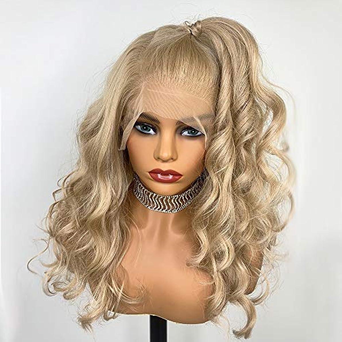 絡まるしかしシェード女性の好きなウィッグ 13x6女性の半分の手のための合成レースフロントブロンドのかつら縛ら耐熱性繊維髪の交換カーリーウィッグ150Density (Color : Blonde, Stretched Length : 22inches)