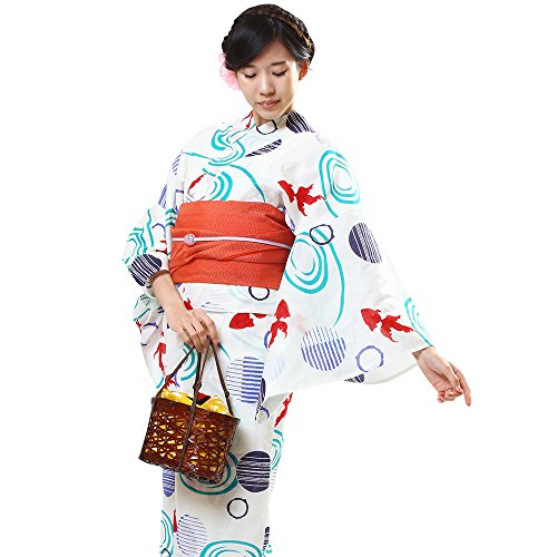 (オオキニ)大喜賑 浴衣 3点セット 古典柄17種 レディース フリーサイズ セット 帯 下駄 (【ANA18】白/赤い金魚)