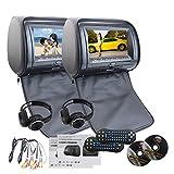 Best EinCar DVDプレーヤー - EinCar ブラック 2 PCS車載用ヘッドレストデュアルDVDプレーヤー 9インチHDディスプレイ画面 内蔵赤外線 FMトランスミッター 32ビットゲーム対応 USB SD MP3エンターテインメント 無料IRヘッドフォンx2 Review