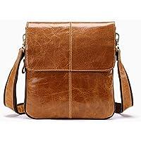 LIUFULING Men's Genuine Leather Vintage Cowhide Flip Single Shoulder Bag Message Bag (Color : Brown)
