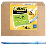 BIC Round Stic Xtra Life Ball Point Stick Pen, Medium Point, 1.0 mm Blue Ink, 144-Count