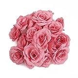 【ノーブランド品】結婚式 ウエディング用 シルクフラワー 造花 ローズ バラ (ピンク) 20個