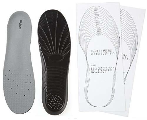 HighUP 衝撃吸収 インソール 足が疲れない靴に 厚さ1cmクッションインソール カット用紙セット 中敷き 中敷 (L:26.5-29.0cm, V1 ブラック)