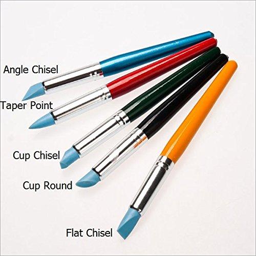 美術用絵筆 シリコン製 彩色木軸 5本セット ソフト筆頭 Cup Chisel/Taper Point/Flat Chisel/Cup Round/Angle Chisel 清潔やすい 絵の具 美術用品 文房具 おしゃれ