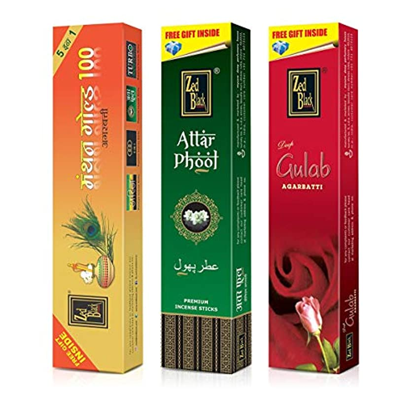 調和のとれたロール追加Zed Black Incense Sticks Combo of Manthan Gold 100, Attar Phool & Deep Gulab