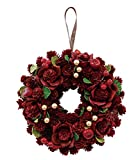 丸和貿易  クリスマス リース ウッディーローズ  (L)  壁掛け  玄関飾り    4008735-02