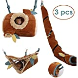 JanYoo Hamster Hammock Cage Accessories Hanging Fleece Bed Swing Bag for Sugar Glider Guinea Pig (3 pcs)