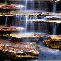 Lcymt 滑り止めの床壁画流れる水健康的な石の滝リビングルームバスルーム3D床壁紙-150X120Cm