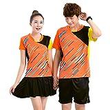 (チーアン)Tiann 卓球ユニフォーム   卓球 ユニフォーム パンツ 卓球 ユニフォーム シャツ 世界チャンピオン愛用モデル 大人気の卓球ユニフォーム 上下セット 女 Orange XL