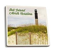 Oak Island、ノースカロライナ州–灯台 4 Coaster Set LANT-76871-CT