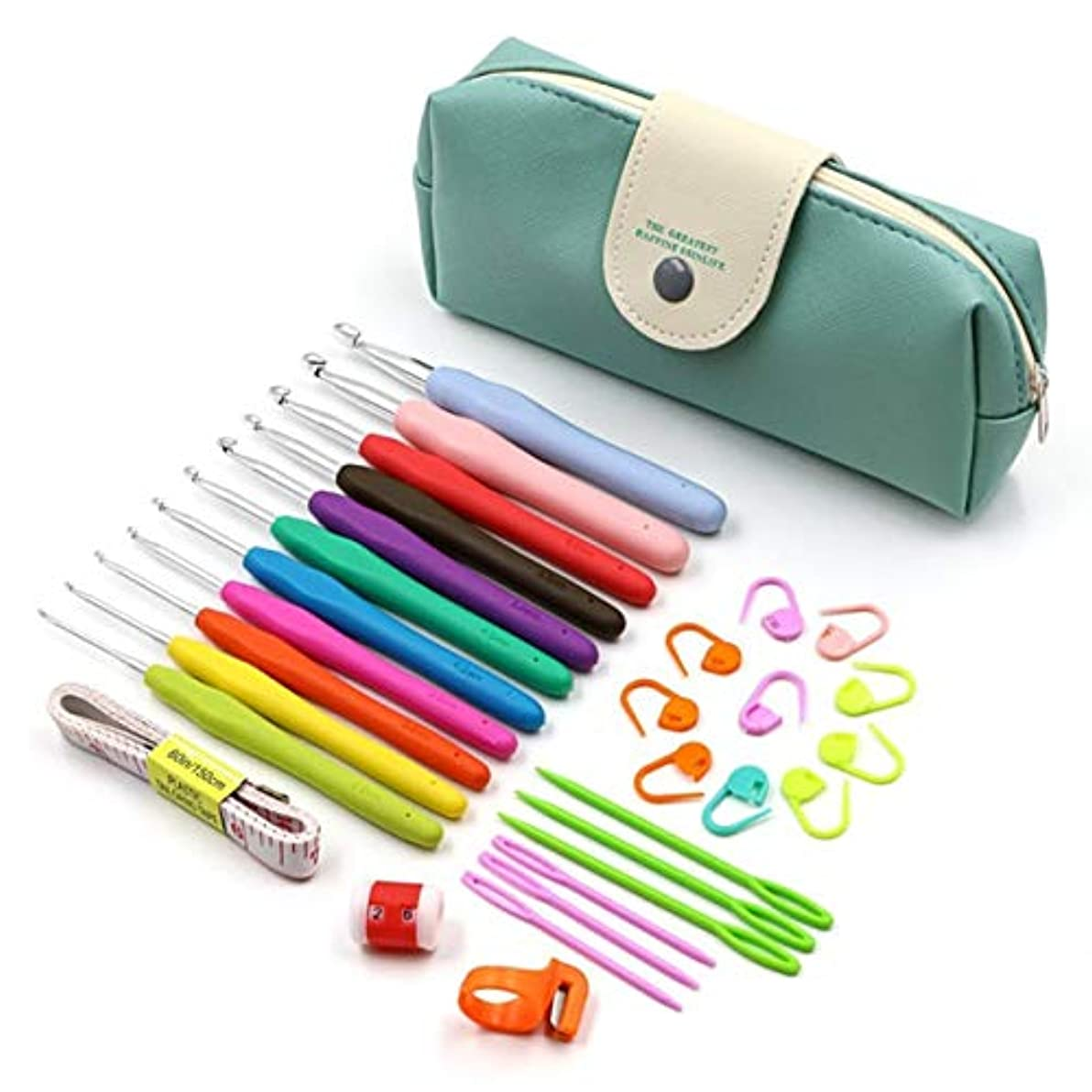 Saikogoods ソフトハンドル 収納袋付きアルミかぎ針編みのフックキット 糸編み物針 裁縫ツール 人間工学に基づいたグリップセット 多色