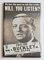 ウィリアム・F Buckleyの市長ポスター冷蔵庫マグネット( 2.5X 3.5インチ)