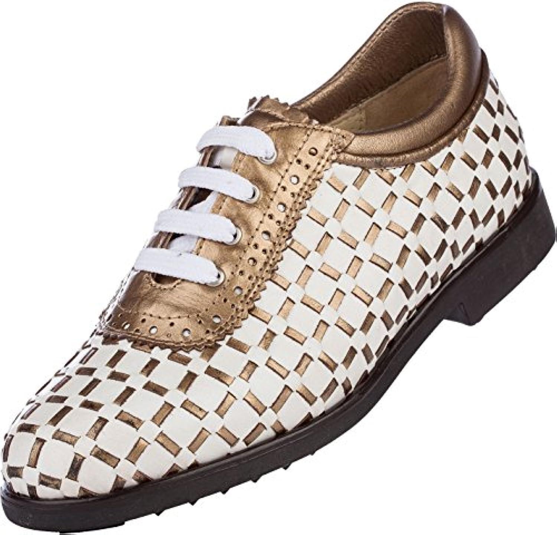 AeroGreen Pavia Hand Wovenレディースゴルフシューズホワイト/ blue-metallic、ホワイト/ gold-metallic、ホワイト/ pink-metallic )