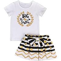 Baby Girl Big &Little Sister Bodysuit Tops Bowknot Striped Skirts Dress Set