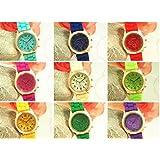 ゴールドGENEVA 腕時計 豪華タイプ ユニセックス シリコン 全色勢ぞろい RINの職人にて検品済分