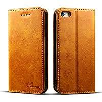 iPhone SE ケース 手帳型 アイフォンseケース 手帳 Rssviss カードホルダー スタンド機能 財布型 合皮レザー 手作り マグネット カード収納 カードポケット アイフォン 5s アイフォンse ケース カバー [iPhone5/5s/Se 4.7 inch 適応]-レトロブラウン