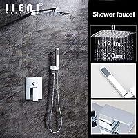 シャワーホース サンエイ、12 インチウォールマウントレインシャワーセット高級正方形のシャワーヘッドシャワーセットハンドシャワー付クロ、シャワーラック ステンレス、シャワー、シャワーホース kvk、シャワ