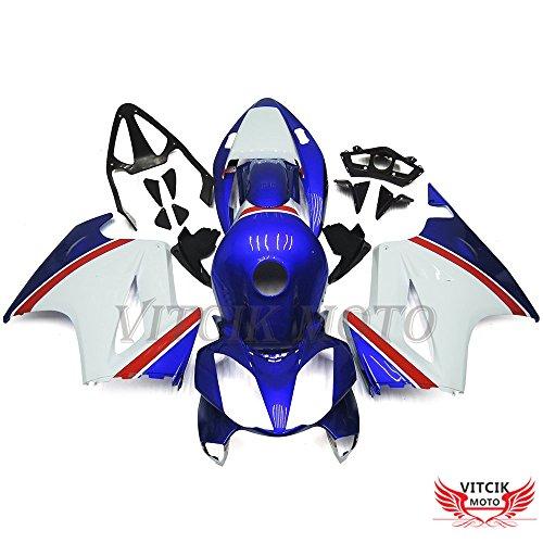 VITCIK (フェアリングキット 対応車種 ホンダ VFR800 RC46 2002 - 2012 本田 Honda VFR800RC46 02 - 12) プラスチックABS射出成型 完全なオートバイ車体 アフターマーケット車体フレーム 外装パーツセット(ブルー & ホワイト) A006
