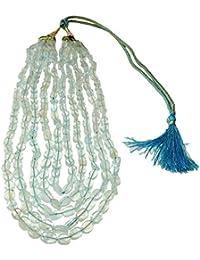 ブルーアクアマリンネックレス01 5ストランド天然Spiritual Healingクリスタルエネルギー(ギフトボックス)