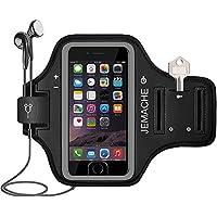 iPhone7 plus/8plusランニングアームバンド スポーツ スマホ アームバンド JEMACHE【指紋識別 OK!】 防汗 軽量 調節可能 小物収納 3ケ月保証 | 黒