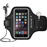 iPhone6/6S/7/8専用アームバンド, JEMACHE 指紋認識をサポート ジムランニングエクササイズ腕章 ケースために iPhone 6 6s 7 キー/カードポケット(ブラック)