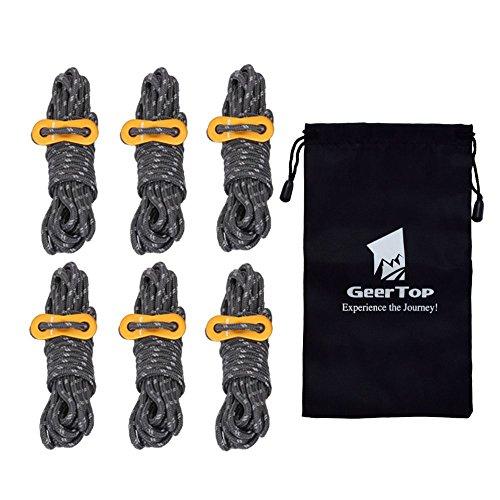 GEERTOP テント ロープ 反射材入りパラコード ガイライン ガイドロープ アルミニウムテンショナー付き 4mm * 4m 6本 (ダークグレー)