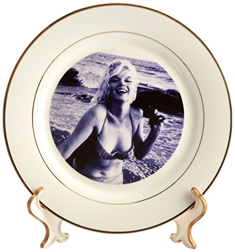 FabPeople – Arts and Entertainment – マリリンモンローat the beach – プレート 8 inch Porcelain Plate cp_107190_1
