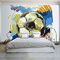 Clhhsy 防水/防汚 壁掛 3D壁紙現代シンプルなカラフルなサッカー壁画壁布用キッズルーム寝室漫画の背景家の装飾壁画-280X200Cm
