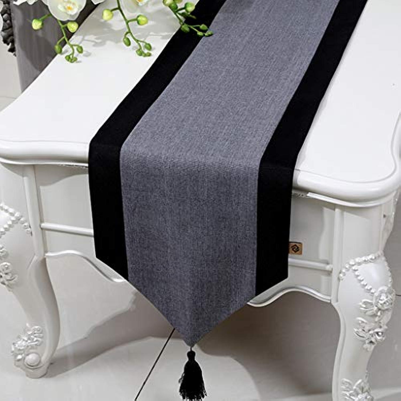 テーブルランナー ホームデコレーション リネン 北欧 工芸品 おしゃれ 結婚式 パーティー エレガント モダン シンプル (Color : Gray, Size : 33*230cm)
