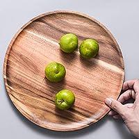 食器、フラットスタイルの木製ディナープレート、丸いコンテナトレイ、木製のフルーツプレート、皿状のティートレイ,Acaciawood