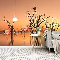 Lcymt 夕焼け湖枯れ木フラミンゴの背景壁用壁紙バーKtvの背景現代の壁紙絵画壁画シルク紙-200X140Cm