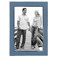 Malden International Designs Sky Blue With Sleek Silver Inside Border Picture Frame, 4x6, Blue [並行輸入品]